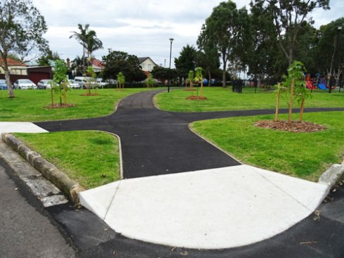 New Illawarra Flame trees - the start of an avenue of trees through the park.