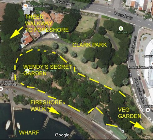 Google map of Clark Park, Wendy' Secret Garden, the Foreshore at Quibaree Park & the Lavender Bay Wharf.