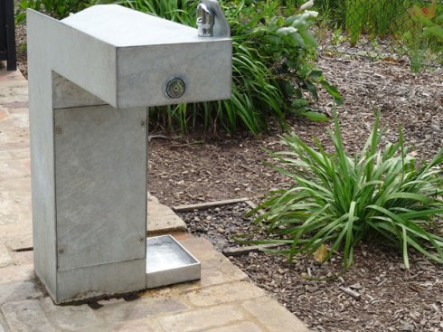I love this tray that provides water for dogs, birds and other wildlife in Sydney Park.  It is filled by water from the bubbler.  Any excess goes into a channel that leads to the garden bed, providing water for the plants & trees in this location.  No puddle, yet no wasting water either.