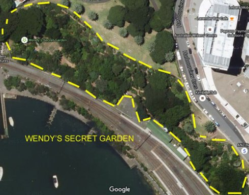 Google map showing the size and impressive canopy cover of Wendy's Secret Garden.