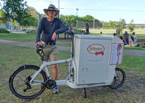 Rob selling Serendipity Ice Cream on a purpose built bike.   The ice-cream was lovely. :-)