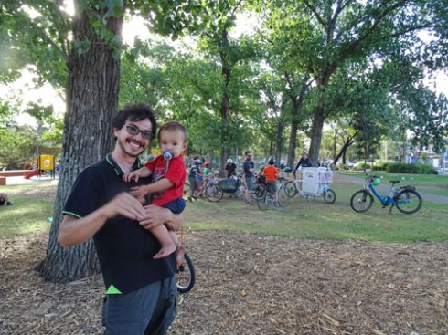 Maurice and son in Steel Park at the end of the bicycle ride.