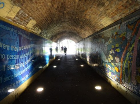 Tunnel that caontains the Hawthorne Canal Mosaic Mural,