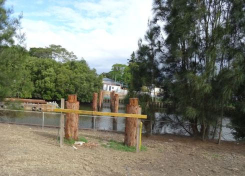 Showing the progress of the new bridge crossing the Cooks River from Marrickville Golf Course to Beaman Park Earlwood.
