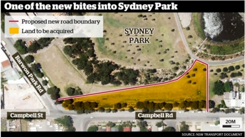 Map of area to be acquired for a construction area for WestConnex. Photo via Sunday Herald. The millet and mung bean meadow created to add nitrogen to the soil for the orchard is in this area.