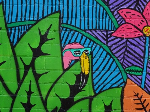 Shy flamingo - part of the mural.