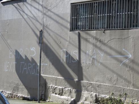 Local graffiti directing people to