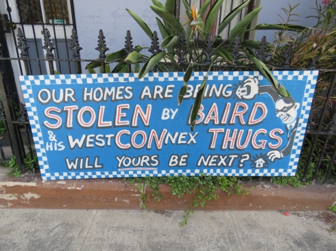 A sign in Campbell Street eloquently expresses community anger