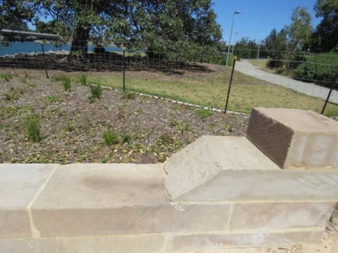 The lookout area is surrounded by seating height sandstone blocks, which I imagine will be really popular.