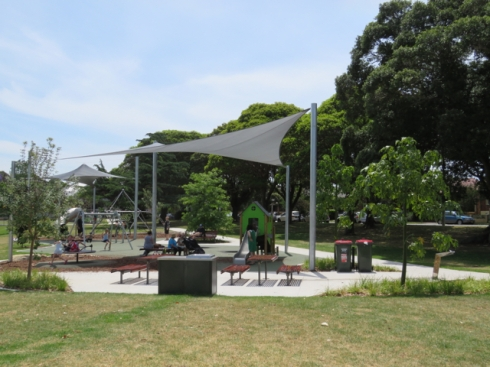 The new children's playground with barbecue area.
