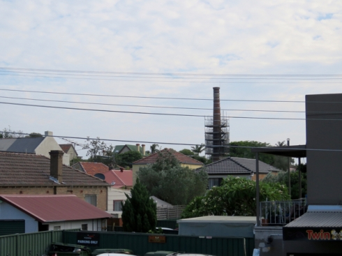 View of the now scaffolded historic sewer vent in Premier Street Marrickville South.