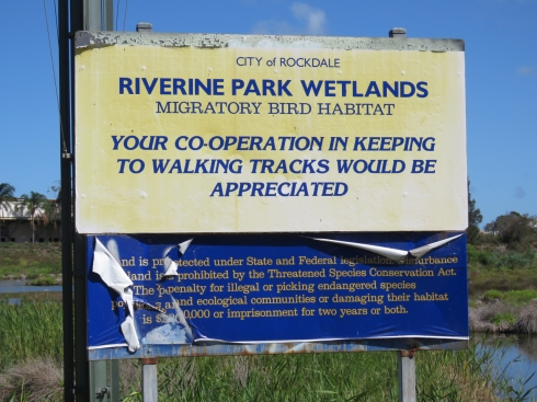 Sign in the Riverine Parklands warming people of a massive fine or 2 years imprisonment if they damage the habitat in this location.